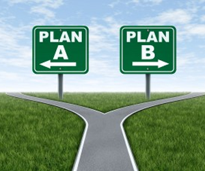 Photo displaying two different paths, Plan A and Plan B.